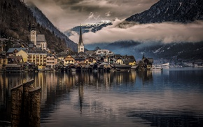Picture clouds, mountains, lake, home, Austria, Hallstatt