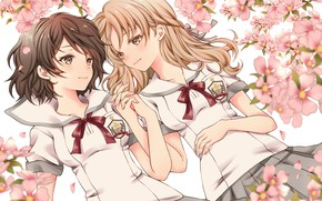 Picture flowers, girls, anime, pink