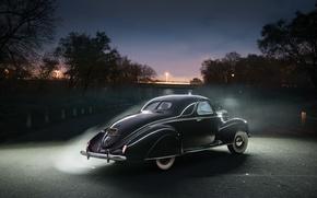 Picture Lincoln, Black, Retro, Car, Coupe, Vintage, Back, 1939, Zephyr