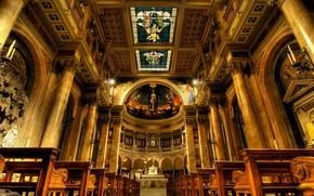 Wallpaper Rome, Italy, Church, the altar, bench
