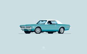Picture Auto, Minimalism, Retro, Machine, Art, Cougar, 1968, Mercury, Mercury Cougar, Nik Schulz, 1968 Mercury Cougar