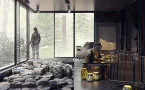 Picture forest, stones, man, the room, The House on the Silver Mountain