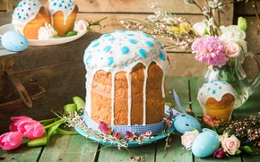 Picture flowers, eggs, Easter, cake, glaze