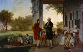 Wallpaper history, Thomas Rossiter, picture, Washington and Lafayette at mount Vernon