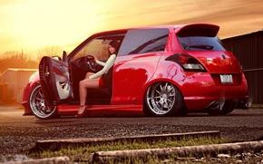 Picture look, tuning, Girls, Suzuki, beautiful girl, red car