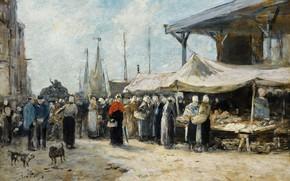 Picture picture, genre, Eugene Boudin, Eugene Boudin, Trouville. Fish Market