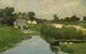 Picture landscape, tree, oil, picture, Johan Hendrik Weissenbruch, Summer Day