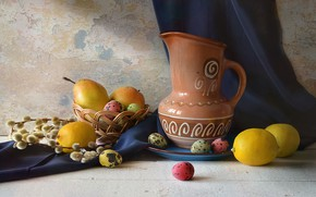 Picture table, holiday, egg, Easter, pitcher, basket, pear, Verba, lemons, Still life, drape