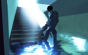 Picture water, corridor, guy