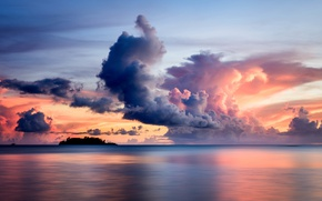 Picture sea, sunset, clouds, island, yacht