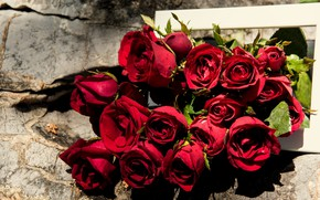 Picture bouquet, red, wood, romantic, roses, red roses