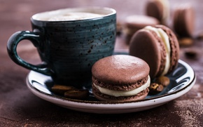 Picture coffee, cookies, cream, dessert, cakes, coffee cup, cookies, macaron, almond, macaroon