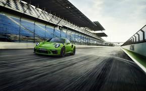 Wallpaper clouds, the sky, Porsche, coupe, track, 911 GT3 RS, 2018, the fence, movement, asphalt, tribune