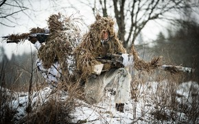 Picture winter, disguise, rifle, sniper