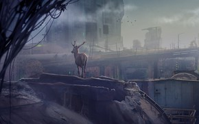 Picture deer, chain, dawn, the clash between nature Vs industrialization, 4th World