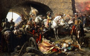 Picture arch, warriors, Gyula Benczur, Buda repossession, The capture of Buda castle