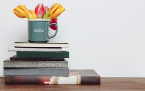 Picture flowers, books, bouquet, colorful, mug, tulips, flowers, romantic, tulips, spring, coffee, mug