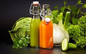 Picture greens, juice, drink, vegetables, cabbage