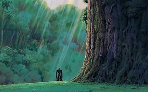 Picture green, grass, robot, trees, anime, rocks, mood, loneliness, movie, Hayao Miyazaki, film, feeling, meadow, vegetation, …