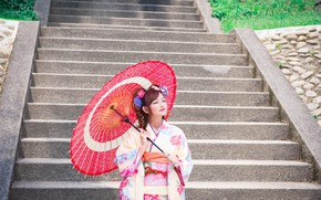 Picture Asian, Dress, Umbrella, Hairstyle, Girl, Outfit