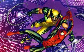 Picture skyscrapers, Wolverine, Wolverine, comic, Marvel Comics, Spider-Man, Spider-Man, Marvel