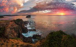 Picture sea, the sky, the sun, clouds, sunset, stones, rocks, coast, horizon, Australia, surf, cliffs, Kiama