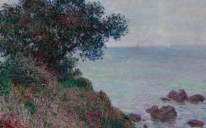 Wallpaper sea, landscape, stones, tree, rocks, Claude Monet, Claude Monet, The Mediterranean Coast. Cloudy Weather