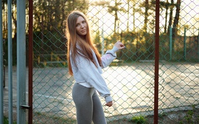 Picture look, girl, face, mesh, hair, the fence, figure, cutie, Natalia