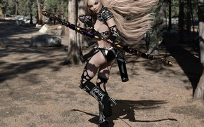 Wallpaper girl, elf, warrior, art