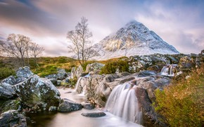 Wallpaper mountain, Scotland, stream, Buachaille Etive Mor, river, stones