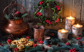 Wallpaper style, berries, candles, New Year, Christmas, still life, bumps, cake