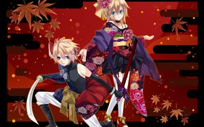 Picture flowers, sword, anime, boy, art, girl, two, Vocaloid, Vocaloid, characters