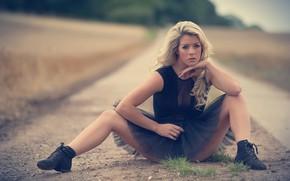 Picture road, pose, feet, model, skirt, hands, bokeh, Tillie Model, Tillie Feather, Jack Russell