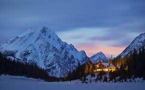 Picture lights, house, forest, twilight, sky, trees, landscape, nature, bridge, sunset, winter, snow, evening, Mountains, peaks, …