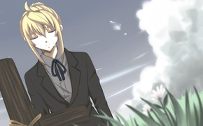 Picture the sky, cross, guy, Vocaloid, Vocaloid, Kagamine Len