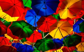 Picture umbrella, street, paint, umbrella