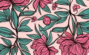 Picture flowers, leaves, Background