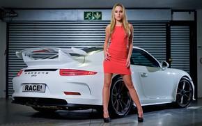 Picture look, Girls, Porsche, beautiful blonde, white car