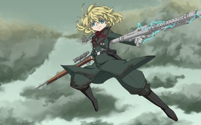 Picture girl, soldier, sky, military, war, anime, cloud, blonde, asian, manga, oriental, asiatic, powerful, strong, uniform, …