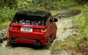 Picture forest, plants, puddle, dirt, SUV, track, Land Rover, black and red, Range Rover Sport Autobiography