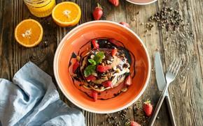 Picture chocolate, Breakfast, strawberry, juice, dessert, wood, pancakes
