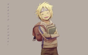 Picture smile, books, grey background, the patch, bandages, satchel, Naruto Uzumaki, Naruto Shippuden, Naruto shippuuden, student, …