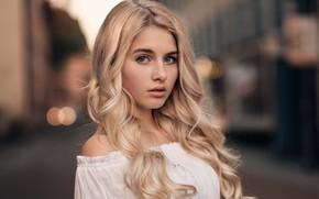Picture look, girl, glare, model, portrait, makeup, hairstyle, blonde, beautiful, in white, bokeh, Martin Kühn, Martin …