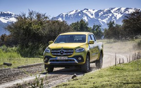 Picture road, mountains, yellow, Mercedes-Benz, pickup, shrub, 2017, X-Class