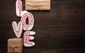 Picture Love, gifts, cakes, dessert, Valentine's Day, hearts, hearts, cookies, glaze, gift, love, romantic, romance, food, …