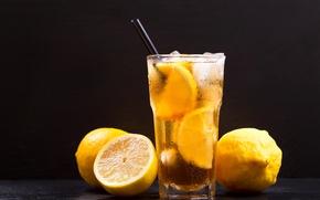 Picture summer, glass, ice, tube, drink, lemons, lemonade