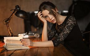 Wallpaper girl, mood, Kseniya Kokoreva, Sergey Zhirnov, book, lamp, face, Sergey Fat, look