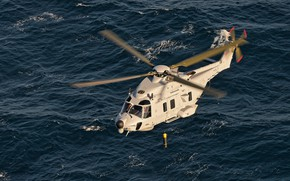 Picture sea, helicopter, sonar of the active type, sonar, Swedish NH90
