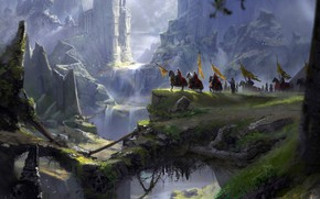 Picture mountains, abyss, knights, A long journey, fantasy port castle