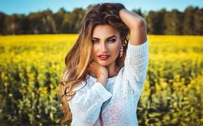 Picture field, look, face, pose, model, hair, portrait, hands, makeup, bokeh, Anton Kharisov, Svetlana Firsova